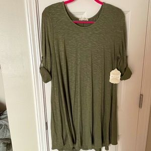NWT Altar'd State Olive Rolled Sleeve Dress